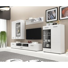 Obývací stěna s LED osvětlením Elodie bílá/bílý lesk