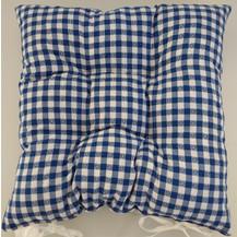 Sedák prošívaný 40x40 cm kanafas modré srdíčko