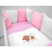 Polštářkový mantinel s Minky s povlečením s vyšívkou  - růžová,bílá,srdíčka - Sovičky