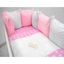 Polštářkový mantinel s Minky s povlečením s vyšívkou  - růžová,bílá,tečky - Měsíček.