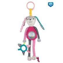 Závěsná plyšová hračka se zrcátkem a chrastítkem - růžová