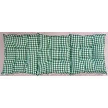 Sedák na lavici prošívaný 140 x 40 x 7,5cm kanafas zelené srdíčko
