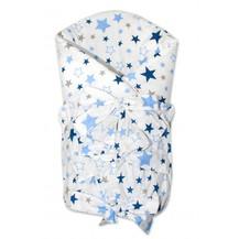 Zavinovačka se stuhou Hvězdy a hvězdičky - modrá/granát na bílém