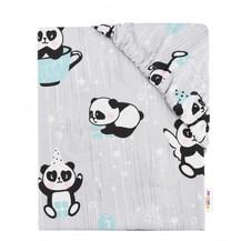 Dětské bavlněné prostěradlo do postýlky - Happy Panda - mátové