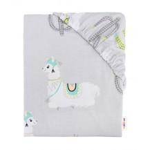 Dětské bavlněné prostěradlo do postýlky, 140x70 cm - Lama šedá