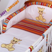 Mantinel s povlečením Baby Dreams SAFARI - Žirafa - proužek pomeranč