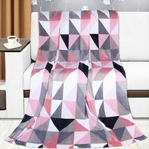 Přikrývka Kemping 150x200cm růžové trojúhelníky