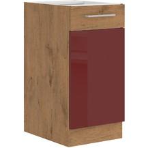 Kuchyňská skříňka Vega 40D1F dub lancelot/bordo lesk