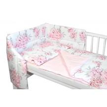 3-dílná sada mantinel s povlečením Baby Nellys, Plameňák - růžová, 135 x 100
