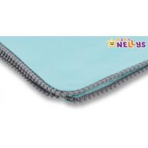 Baby Nellys Letní deka s mini bambulkami, jersey, 100 x 75 cm - mátová/šedý lem