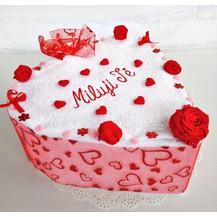Veratex Textilní dort Srdce jednopatrový s výšivkou