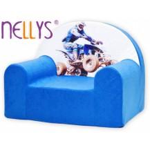 Dětská pohovečka Nellys ® - Čtyřkolka v modré NELLYS