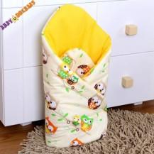 Zavinovačka Kolekce Sovičky - krémové/žluté Nellys Baby Dreams
