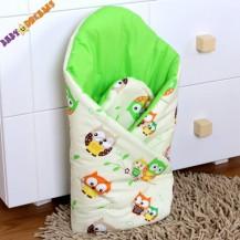 Zavinovačka Kolekce Sovičky - krémové/zelené Nellys Baby Dreams