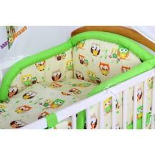 Bavlněné povlečení Baby Dreams Kolekce - Sovičky - krémové/zelené