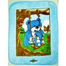 Deka plyšová Medvídek modrá 80x110 cm