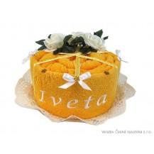 Svatební Textilní dort s výšívkou  jednopatrový