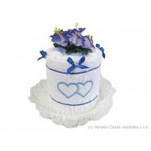 Svatební Textilní dort Srdíčka jednopatrový Veratex