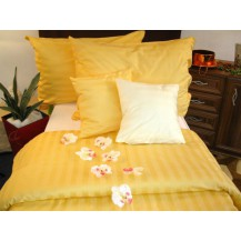 Veratex Damaškové povlečení  2x70x90, 200x240 (proužek sytě žlutý)