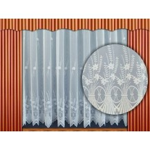 Záclona kusová - Kytice 250x600 cm  (bílá)