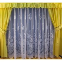 Záclona kusová - Růže 150x300 cm (bílá)
