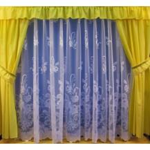 Záclona kusová - Růže 250x600 cm (bílá)