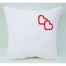 Froté polštářek s výšivkou srdce 40x40 cm bílý