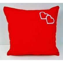 Froté polštářek s výšivkou srdce 40x40 cm červený