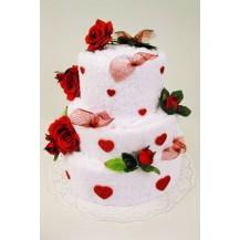 Valentýnský textilní dort - třípatrový Veratex