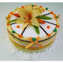 Textilní dort lososová lilie jednopatrový