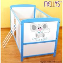 Dřevěná postýlka 2 v 1 Nellys LITTLE MOUSE - modrá/bílá NELLYS