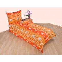 Prodloužené povlečení bavlna 140x220, 70x90cm Listy oranžové, Výběr zapínání: zipový uzávěr