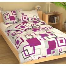 Prodloužené povlečení bavlna 140x220, 70x90cm Hlavolam fialový, Výběr zapínání: zipový uzávěr