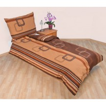 Povlečení bavlna 140x200, 70x90cm Čtverce hnědé, Výběr zapínání: zipový uzávěr