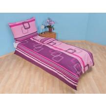 Povlečení bavlna 140x200, 70x90cm Čtverce fialové, Výběr zapínání: hotelový uzávěr