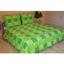 Povlečení francouzské krep 220x220, 70x90 Domino zelené, Výběr zapínání: nitěný knoflík