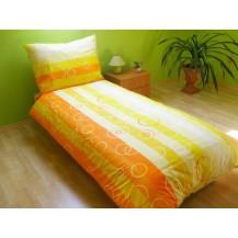 Povlečení francouzské bavlna 200x200,70x90 Bublina oranžová, Výběr zapínání: nitěný knoflík