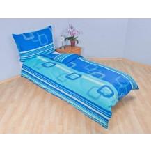 Přehoz přes postel dvojlůžkový Čtverce modré Brotex