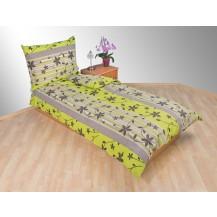 Přehoz přes postel dvojlůžkový Listy zelenošedé Brotex