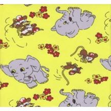 Povlečení dětské bavlna velká postel Slůně žluté, Výběr zapínání: nitěný knoflík