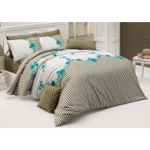 Prodloužené povlečení bavlna 140x220, 70x90cm Tanya modrá, Výběr zapínání: zipový uzávěr
