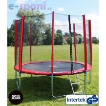 GoodJump 4UPVC červená trampolína 305 cm s ochrannou sítí + žebřík + krycí plachta Beanbag